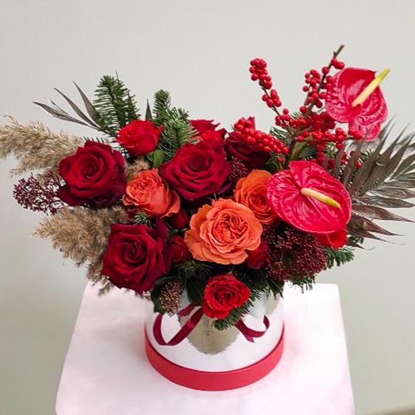 9ea68e5c cd82 4856 a1b6 6dd1ab134374 2 - Композиція квітів у коробці № 009