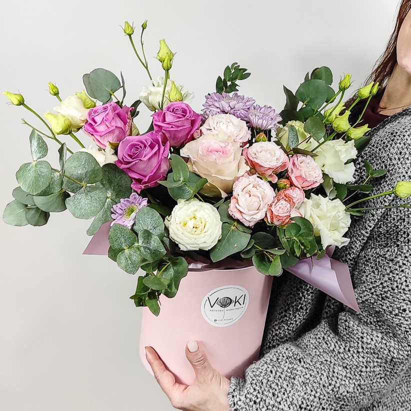 img 20201031 153939 1 - Композиція квітів у коробці № 001