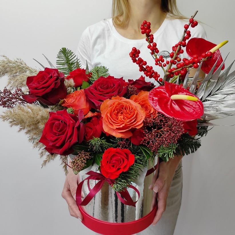 img 20201129 120416 - Композиція квітів у коробці № 009
