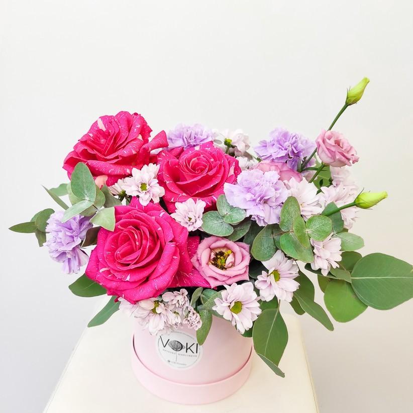 img 20201129 123050 - Композиция цветов в коробке  № 1001