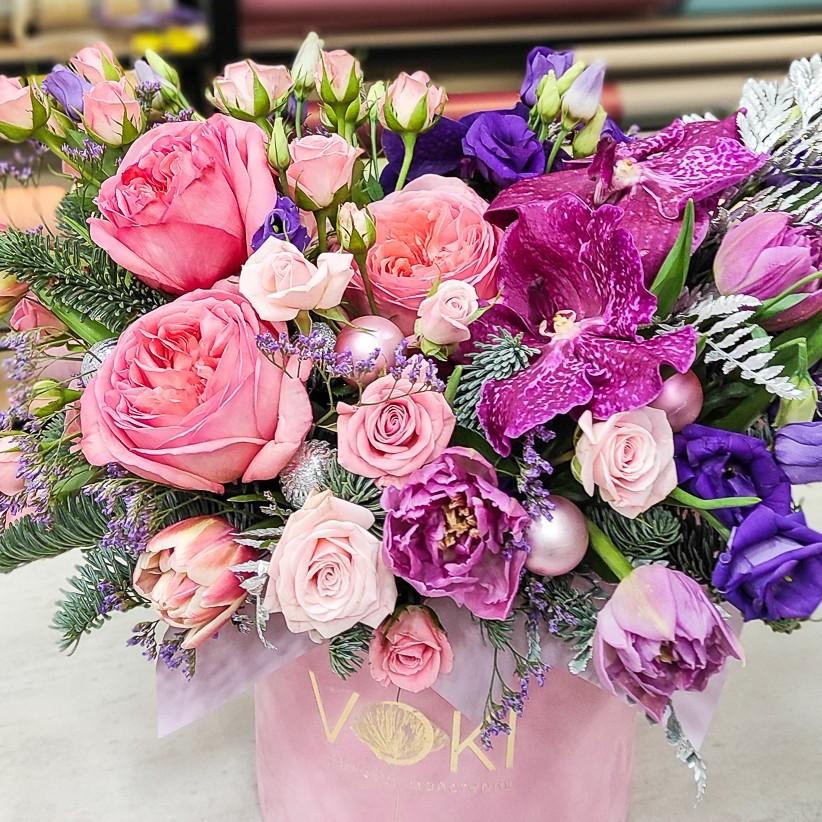 img 20201207 161808 2 - Композиция цветов в коробке № 1007