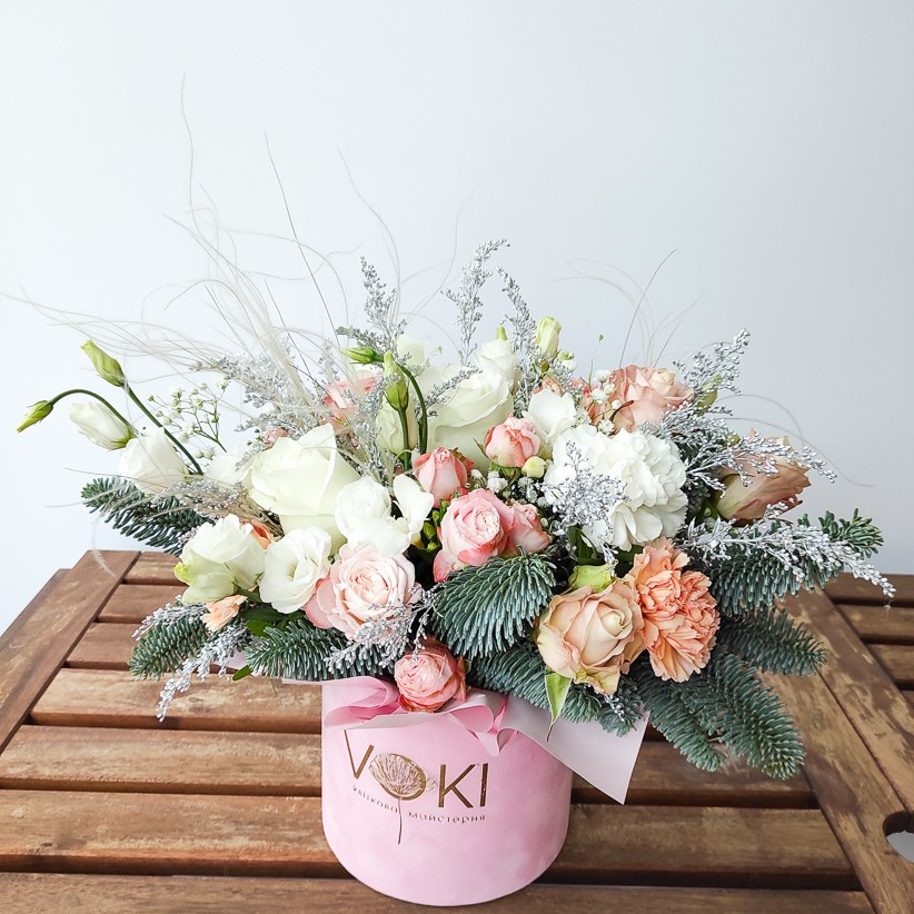img 20201212 121311 - Композиция цветов в коробке  № 1012