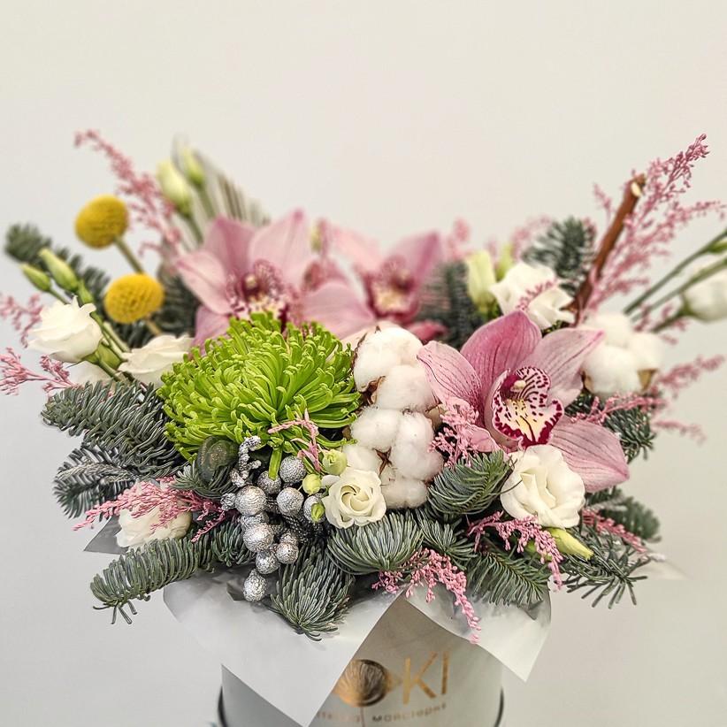 img 20201224 131454 - Квіткова композиція у коробці № 1020