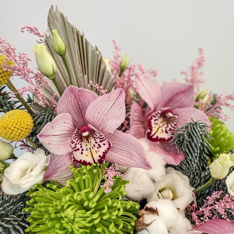 img 20201224 131519 - Квіткова композиція у коробці № 1020