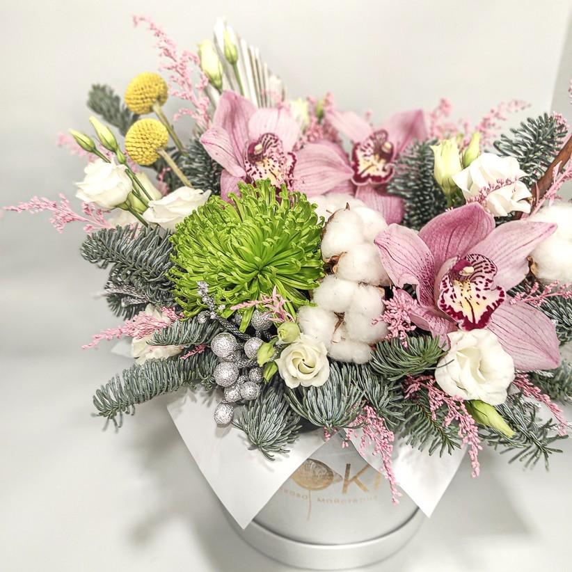 img 20201224 134611 - Квіткова композиція у коробці № 1020