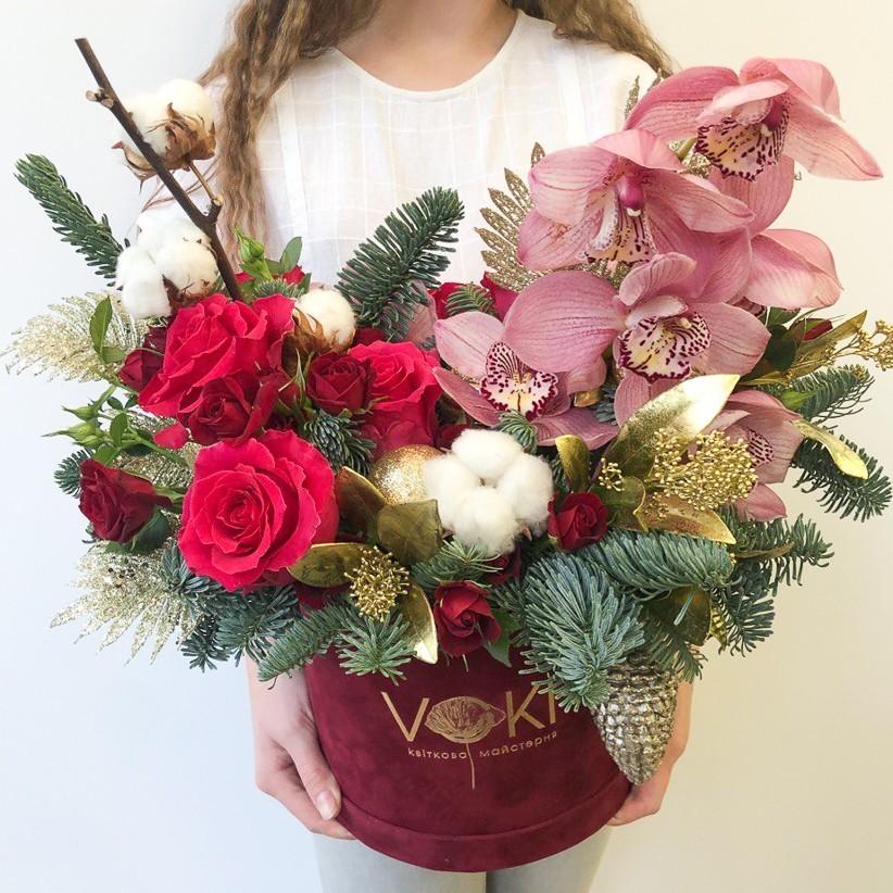 photo5424870769948733511 - Композиция цветов в коробке  № 1022