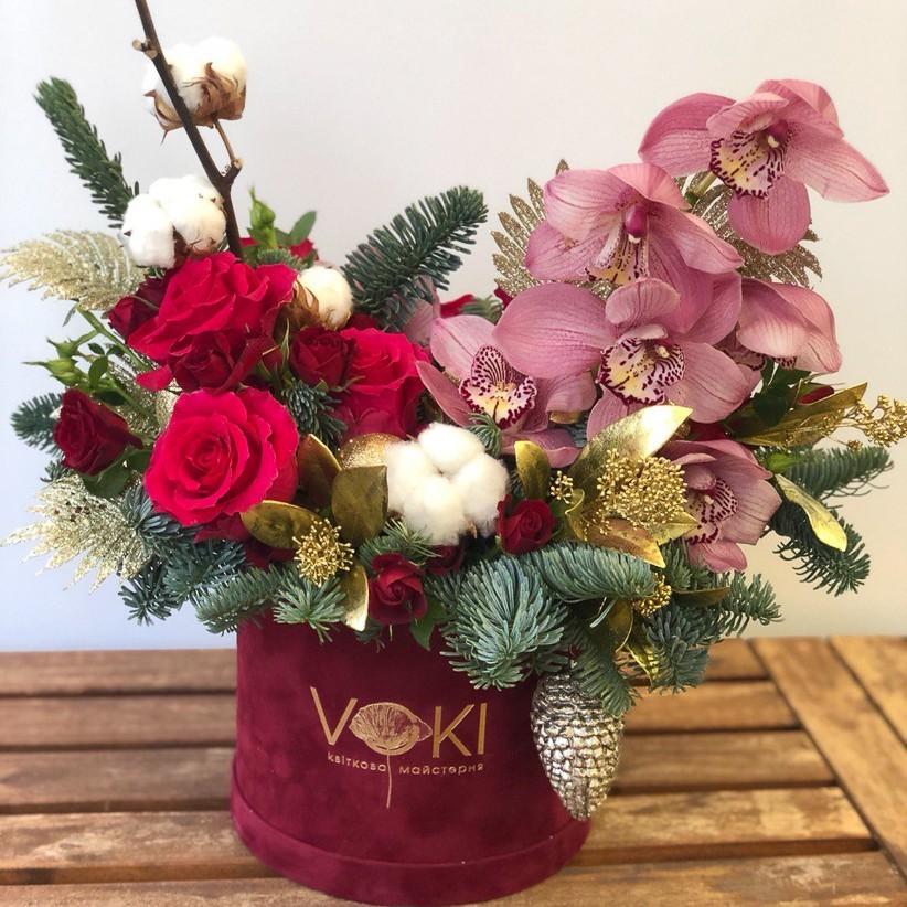photo5424870769948733513 - Композиция цветов в коробке  № 1022