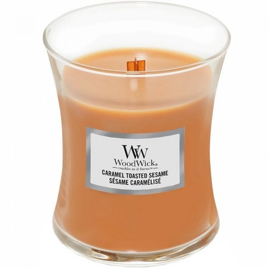 aromaticheskaya svecha caramel toasted sesame medium jar woodwick.jpg 910x910 1 - Свічка Woodwick Medium Caramel Toasted Sesame 275г