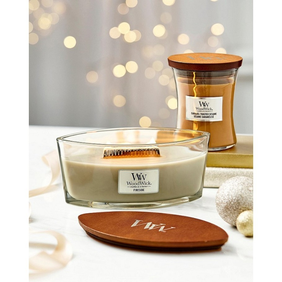 aromaticheskaya svecha caramel toasted sesame2 medium jar woodwick.jpg 910x910 1 - Свічка Woodwick Medium Caramel Toasted Sesame 275г