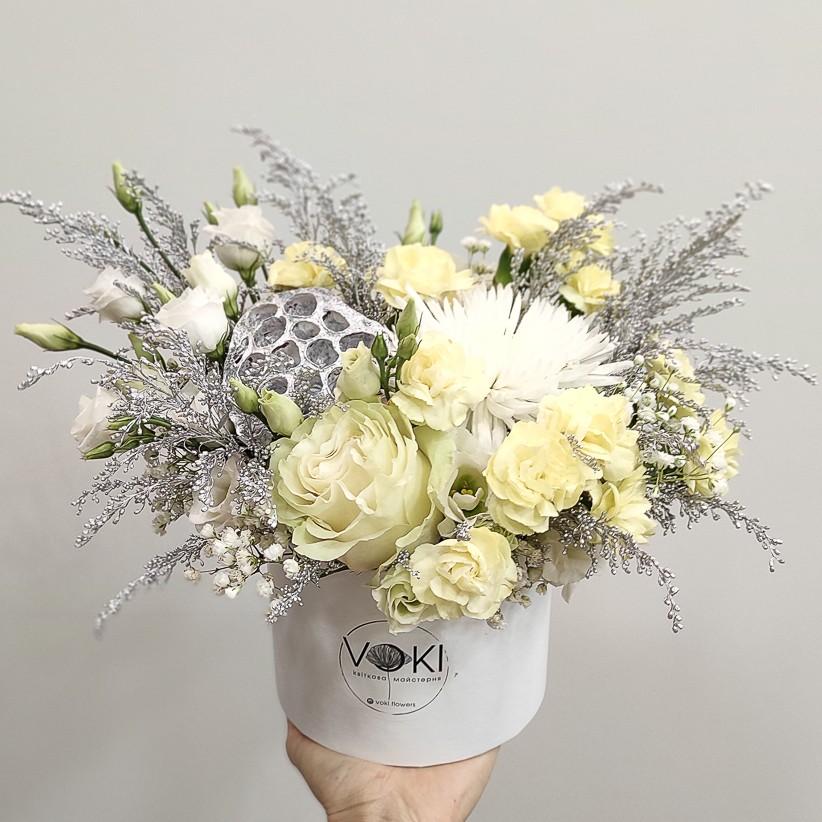 img 20201230 162212 - Композиция цветов в коробке  № 1023