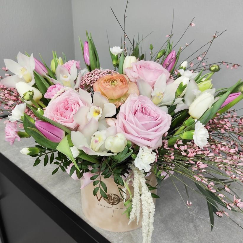 img 20210124 170524 - Композиція квітів у коробці № 1028