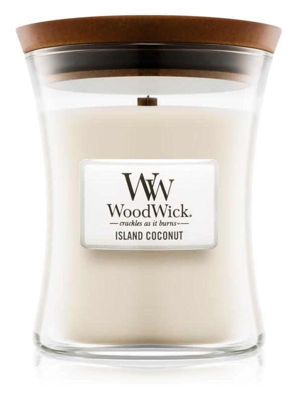woodwick island coconut a   5 - Ароматическая свеча Woodwick Mini Seaside Mimosa 85г